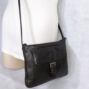 ENZO ANGIOLINI Brown Leather Messenger Bag